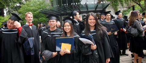 UBC Computer Science graduates gather in front of the Chan centre.
